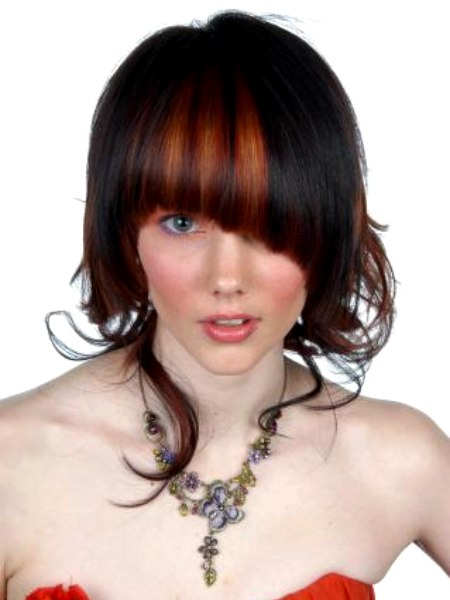 Hairstyle With Blunt Angled Bangs And Tendrils Around The Neck