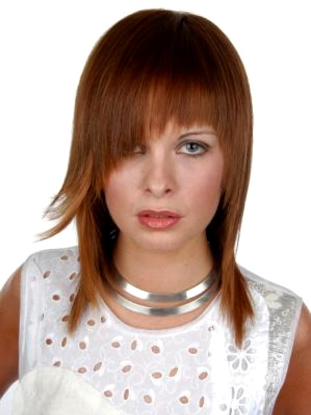 Sleek Hairstyle With Razor Cut Ends And And Angled Bangs