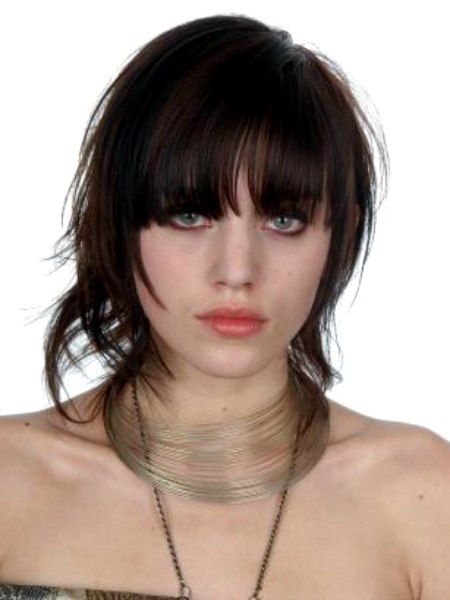 Mid Length Hairstyle With Razor Cut Layers And Bangs