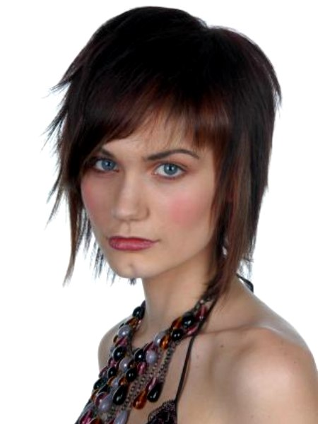 Heavily Razor Cut Hairstyle With Angled Bangs And Choppy Sides