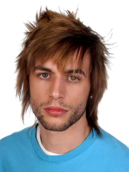 Mens Medium Rough Shag Hairstyle