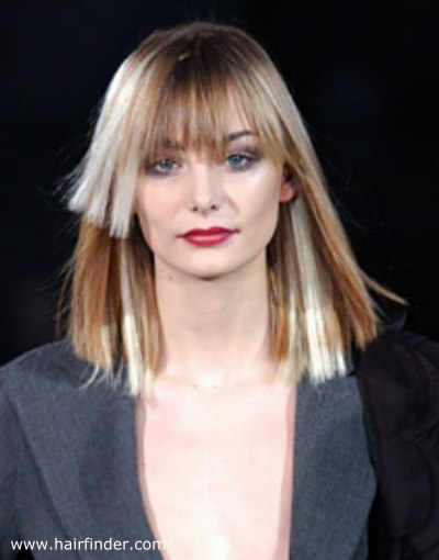Shoulder Length Blunt Cut Hairstyle With The Fringe Aligned With The
