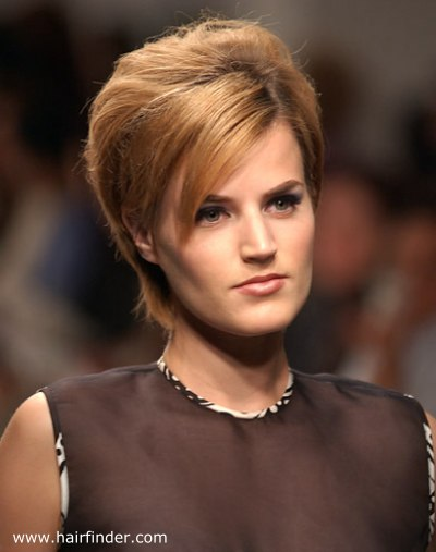Retro Inspired Short Hairstyle With A High Volume Crown