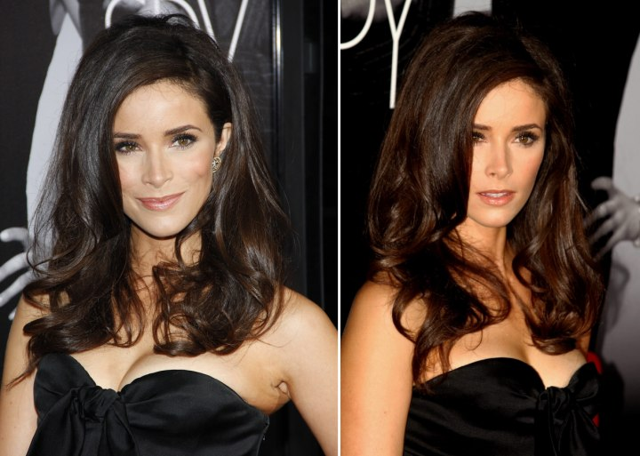 Abigail Spencer Wearing Her Side Parted Hair Tucked Behind