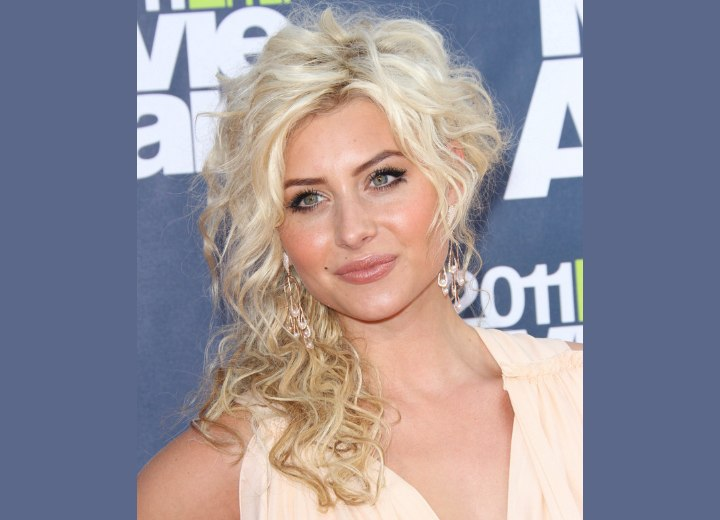 Aly Michalka With Her Hair Up So That It Appears Short On One Side