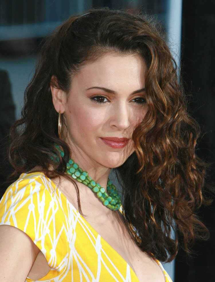 Alyssa Milano Her Long Hair Styled Side