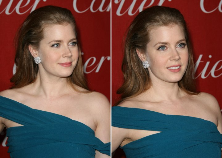 Amy Adams Wearing Her Long Hair Back And Away From Her