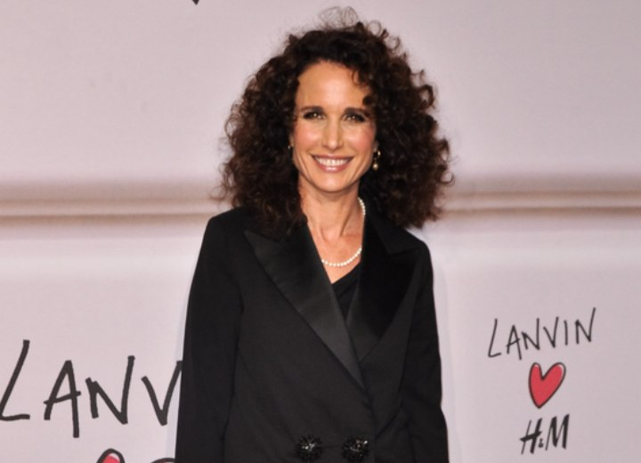 Andie Macdowell Long Hairstyle For Naturally Curly Hair