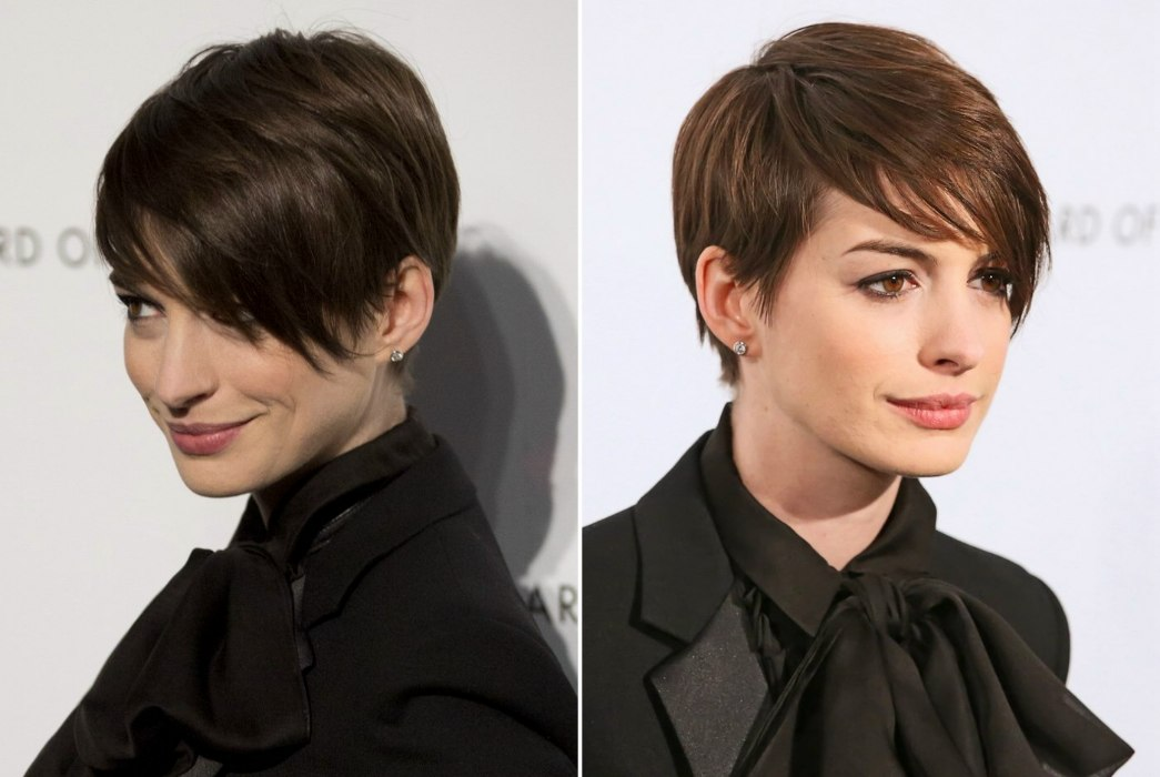 Anne Hathaway S Short Pixie Hairstyle With Hair That Rests On The Cheek