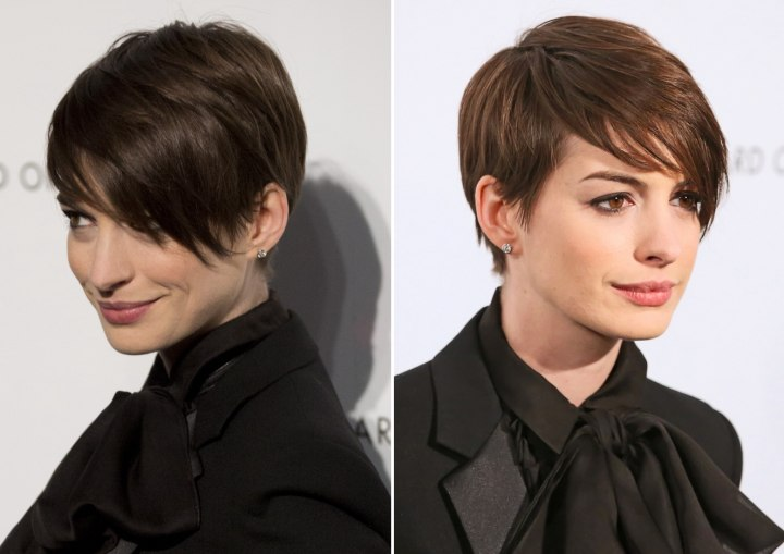Anne Hathaway S Short Pixie Hairstyle With Hair That Rests