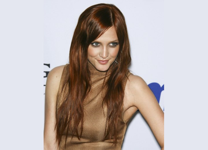 Long Mahogany Hair and Highlights. Ashlee Simpson with long brown hair
