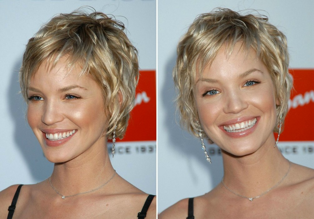 Ashley Scott Sporting A Very Short Layered Hairstyle