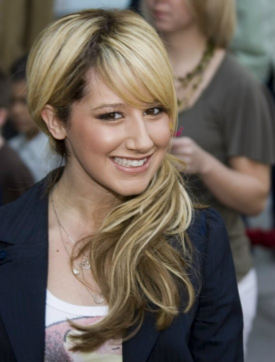 Ashley Tisdale Wearing Her Ponytail On The Side For A