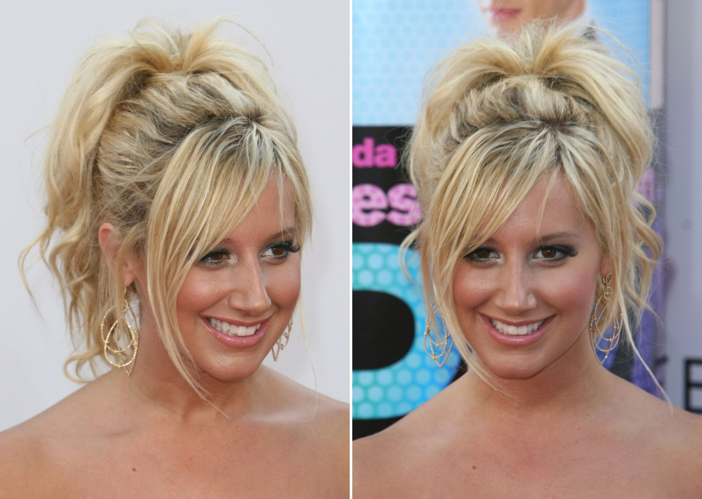 Ashley Tisdale S Wild Updo With Her Hair Gathered High On