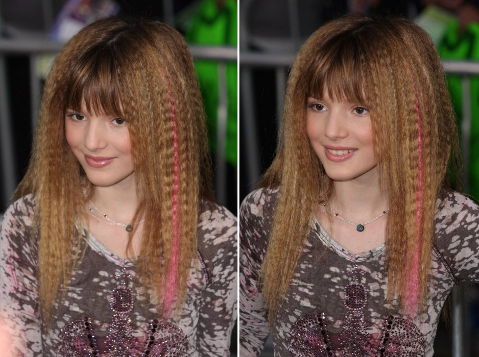 crimping hair style thorne s crimped hairstyle with a of pink 1322 | bella thorne crimped hair