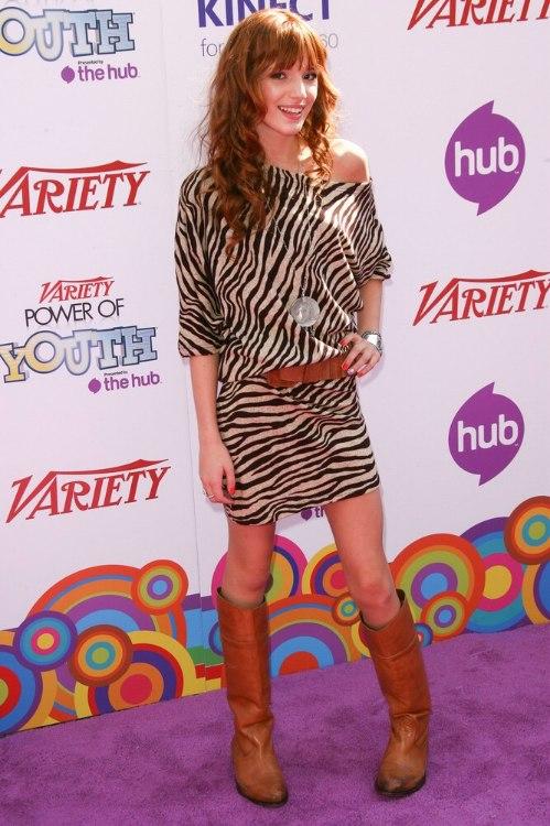 Bella Thorne Long Copper Hair In Spiral Cylinders Below