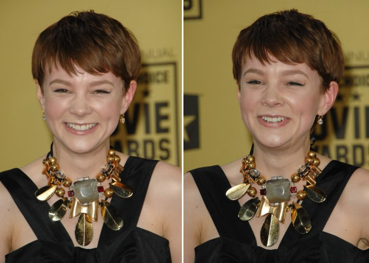 Carey Mulligan with her easy short no muss and no fuss hairstyle