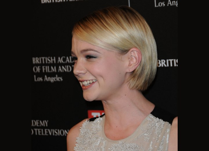 carey mulligan wearing an easy to take care of bob with