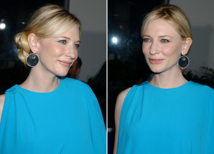 Cate Blanchett With Her Hair Styled Smoothly Back In A Round Knobbed