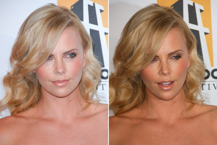 Charlize Theron Wavy Hairstyle For Blonde Hair With