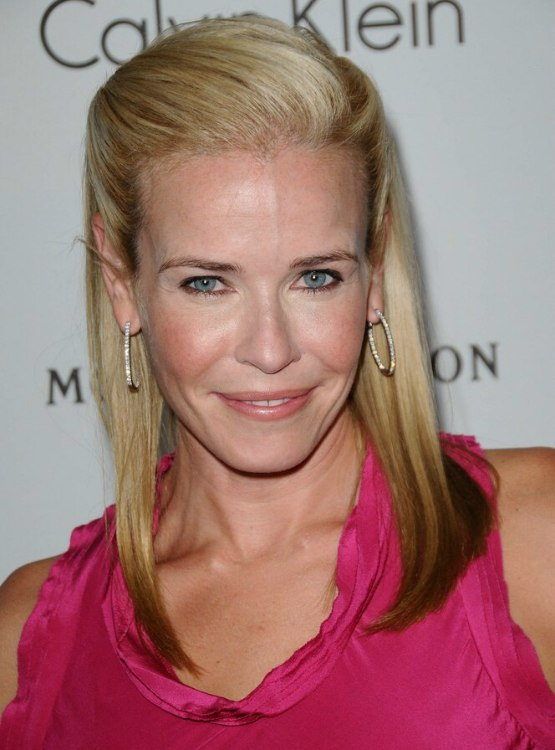 Chelsea Handler Wearing Her Long Hair In A Smooth Pouf