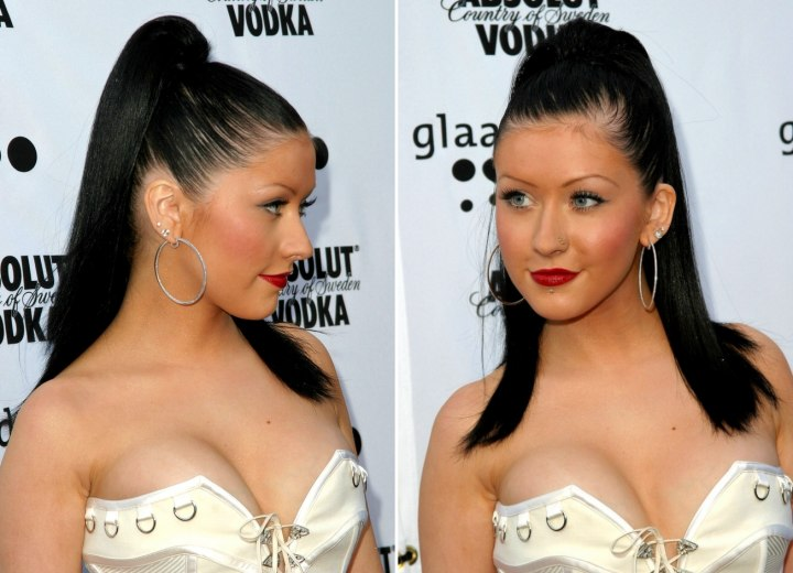 christina aguilera hairstyles. Christina Aguilera with a high