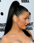 very tight high ponytail