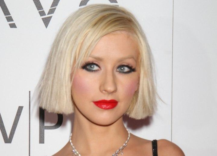 Brilliant Christina Aguilera Platinum Blonde Hair In A Straight Just Under Short Hairstyles Gunalazisus
