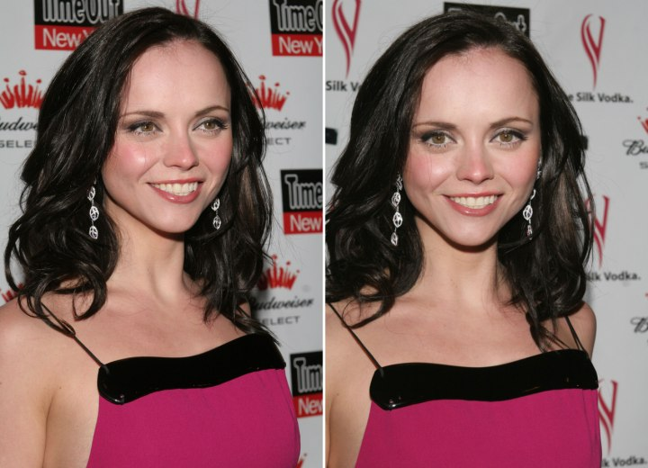 Christina Ricci With Her Long Hair Tapered To Form A V