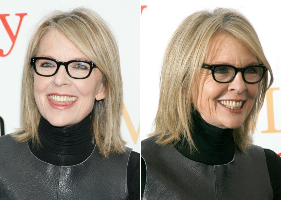Diane Keaton wearing her shoulder length hair in a simple no fuss style