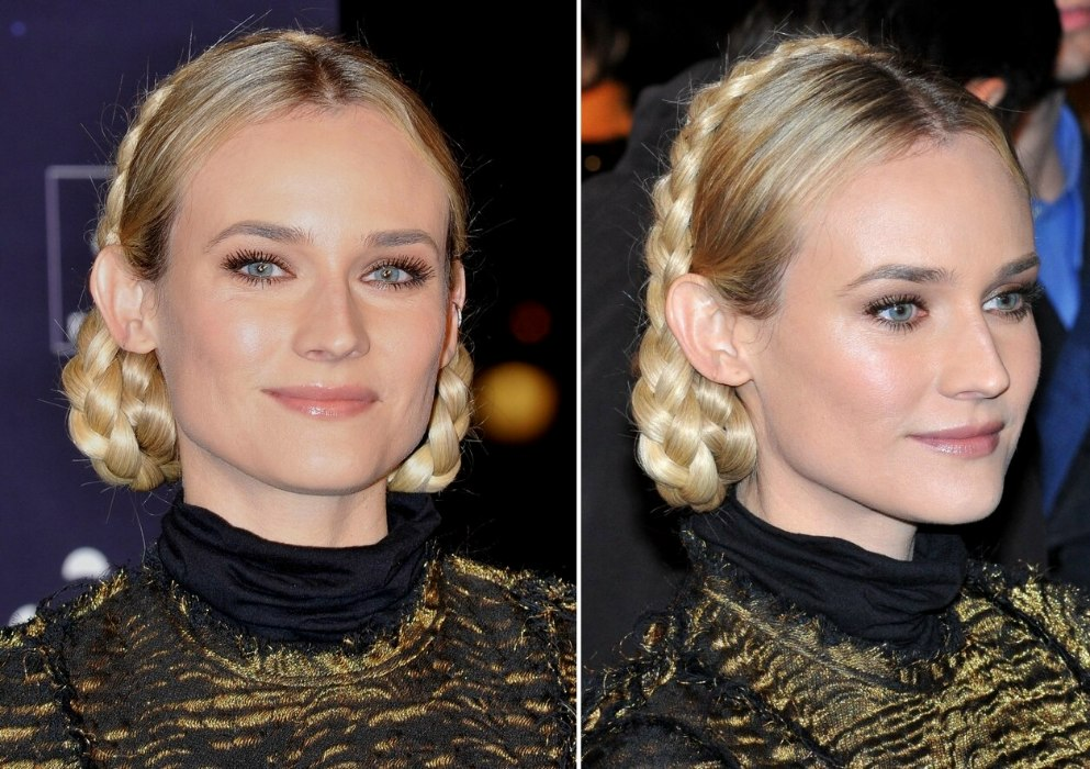 Diane Kruger Wearing A Tightly Braided Festive Hairstyle