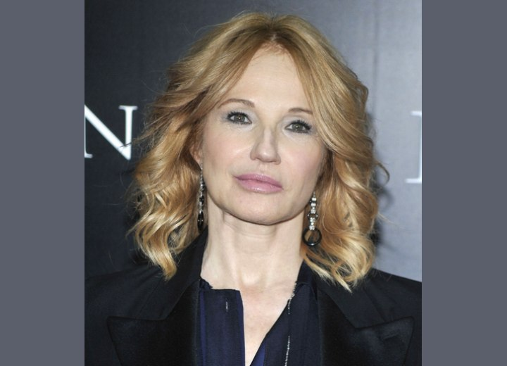 Ellen Barkin Long Hair Scooped Away On Both Sides And