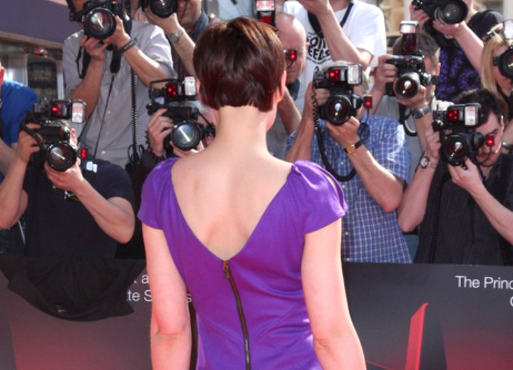 Emma Willis | Short pixie haircut with swooped bangs