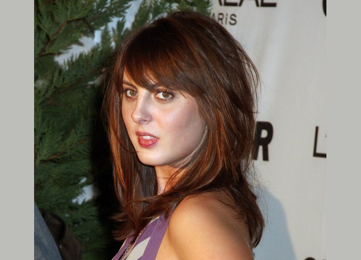 Admirable Eva Amurri Long Layered And Textured Hairstyle With A Fringe Short Hairstyles Gunalazisus