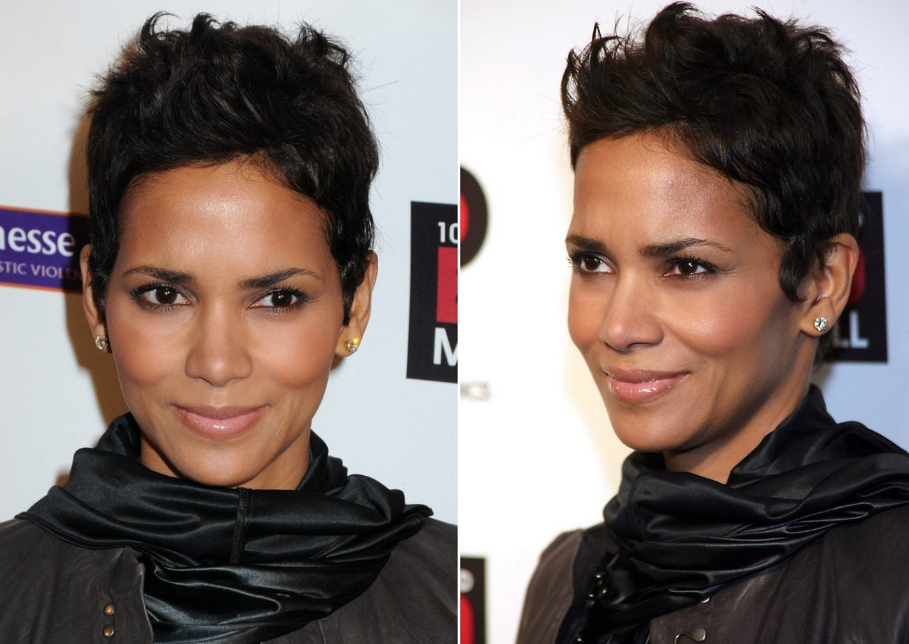 Halle Berry with her hair cut around the ears in a pixie