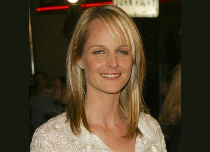 Helen Hunt With Tapered Hair Tugged Behind Her Ear