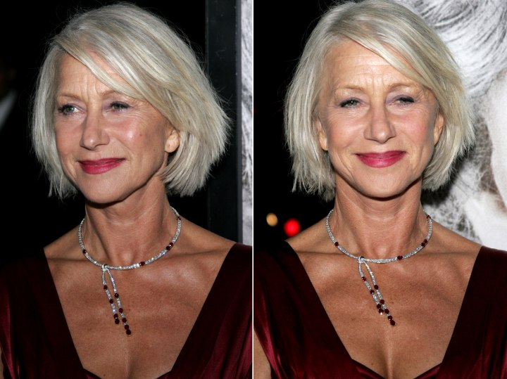 Helen Mirren With Her Silver Hair Cut To A Chin Length Bob