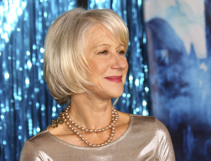 Helen Mirren Silver Hair And Dress For A Women Aged Over 60