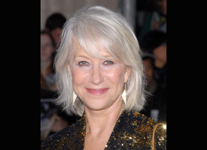 Helen Mirren With Her Silver White Hair In A Style That