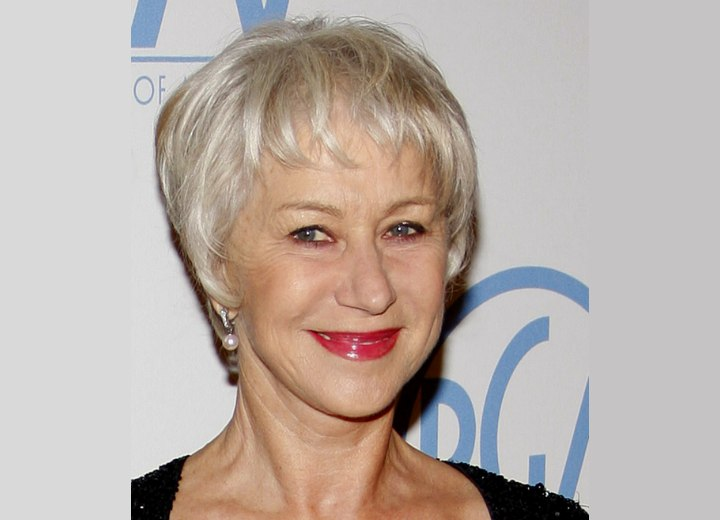 Helen Mirren Wearing Her Silver White Hair Short In A Pixie