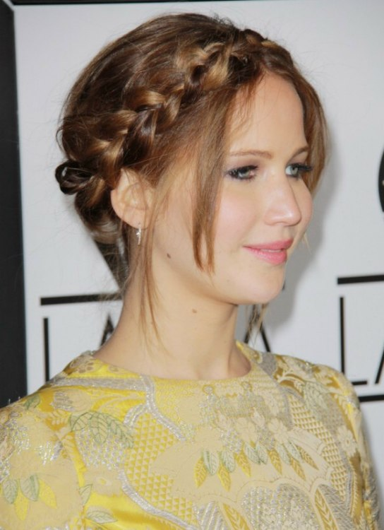 Jennifer Lawrence Wearing Her Hair In A Braided Up Style