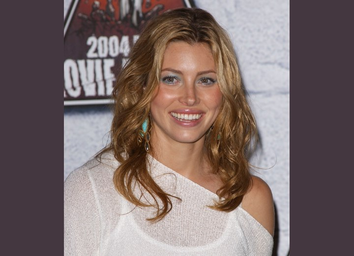 Long Open Hairstyle. Jessica Biel wearing an off the shoulder shirt