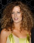 Kate Beckinsale with her hair in spiraling curls