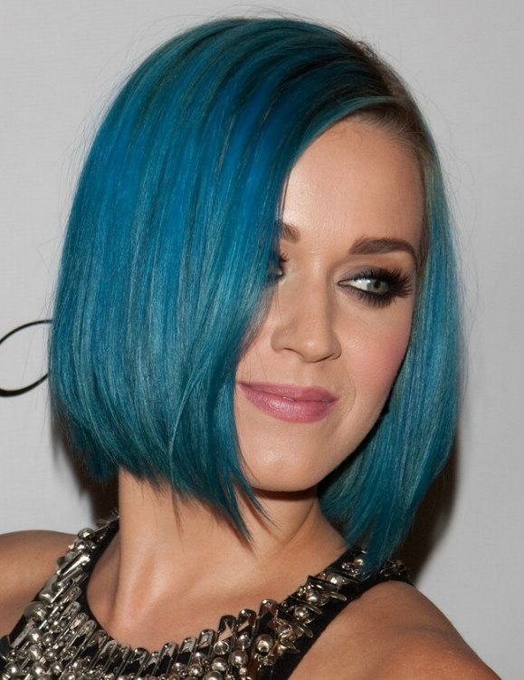 Katy Perry Sporting A Smooth Blue Bob Blue Hair