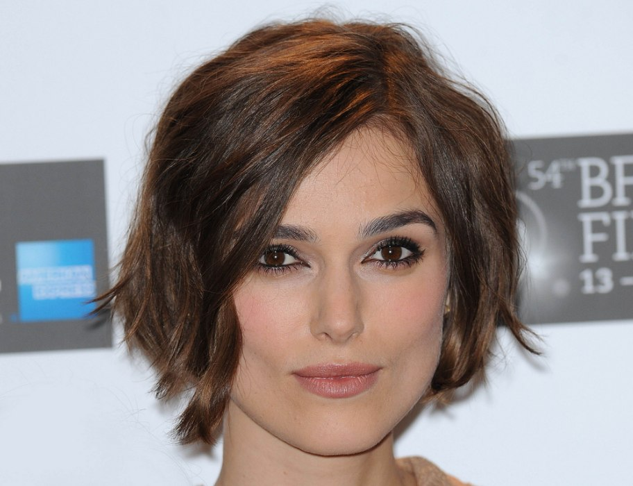 Keira Knightley with curled short hair