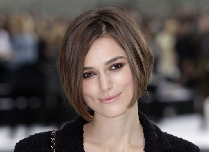 Keira Knightley With Her Short Bob With Angled Sides