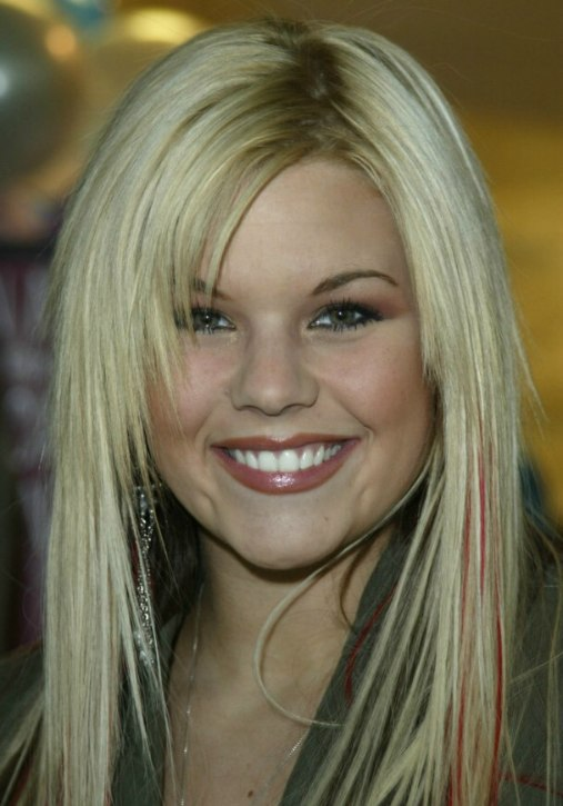 kimberly caldwell long blonde hairstyle with colored red