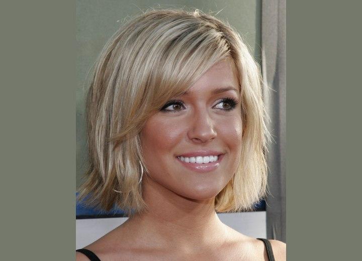 Kristin Cavallari's Short Hair. hair halfway the neckline