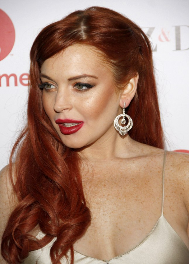Lindsay Lohan Long Vintage Inspired Hairstyle With Curls For Red Hair