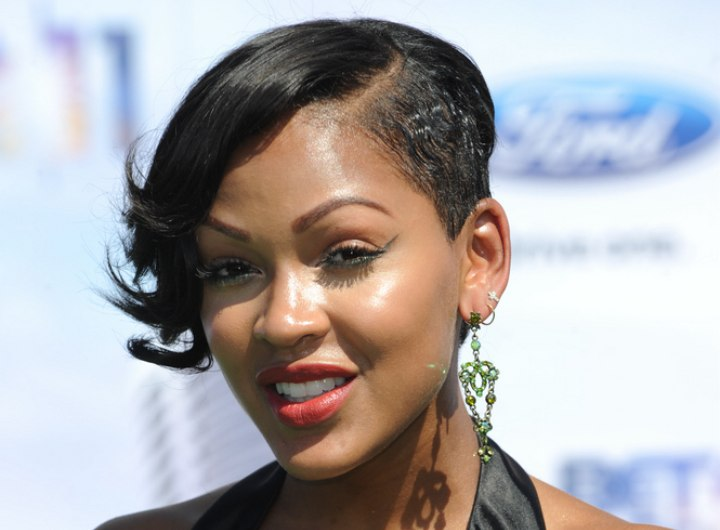 Meagan Good Wearing Her Hair Short And Shaved On One Side